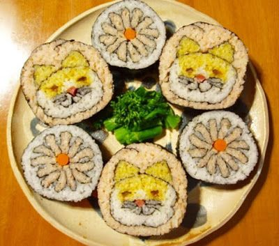 cat and flowers sushi art