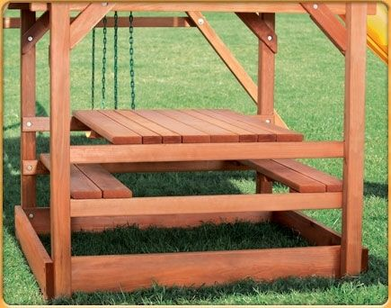 Convertible Picnic Table For Swingset Also Sandbox Benches