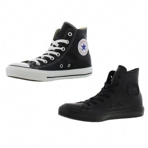 Converse All Star Hi Black Leather Mens Womens Trainers Shoes Size Uk 3-13   T.U.K.Womensshoes 395b20c8c