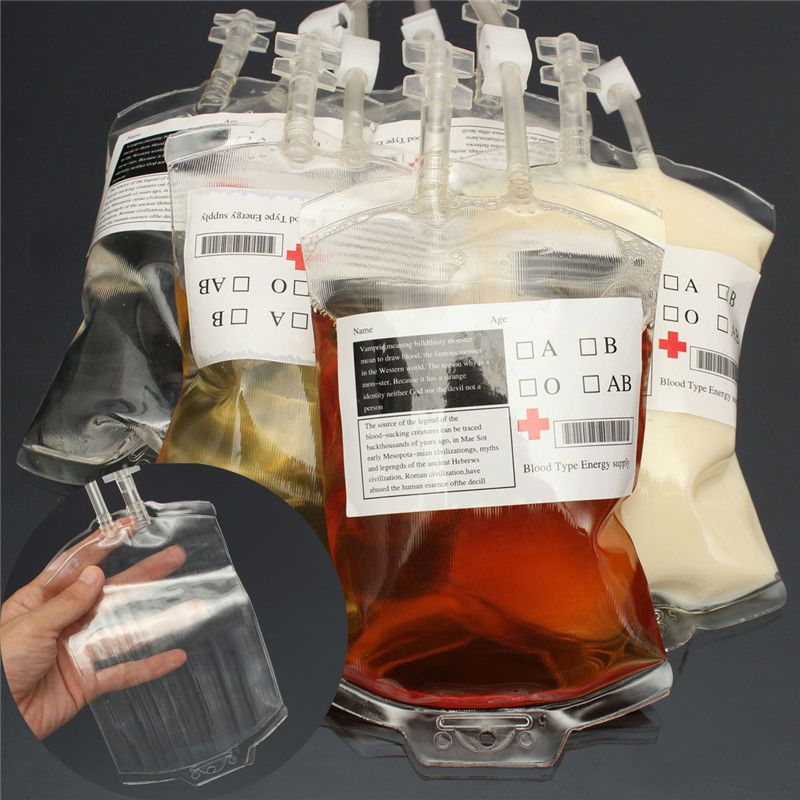 Clear PVC Material Reusable Blood Energy Drink Bag Halloween Party