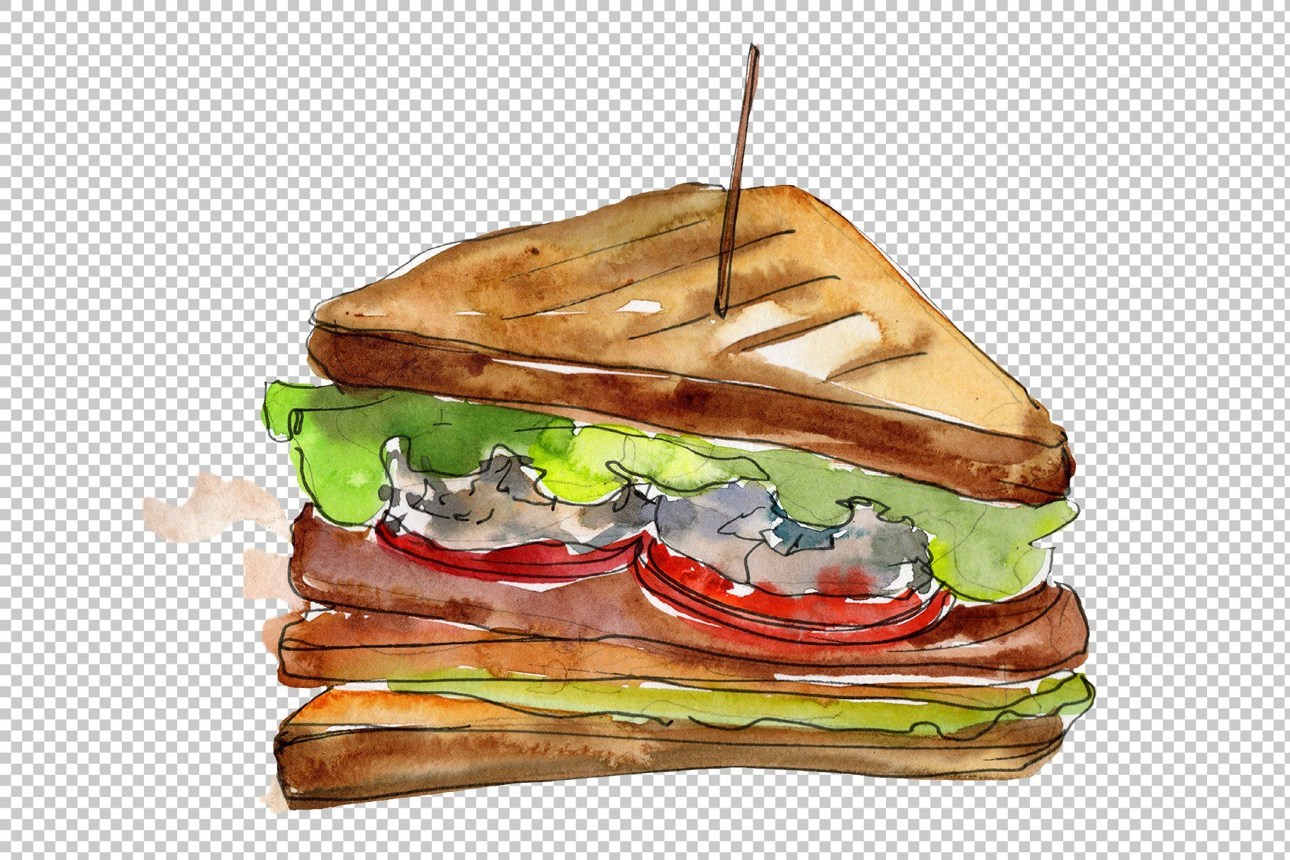 Tasty Sandwich Png Watercolor Set Delicious Sandwiches Tasty Sandwiches