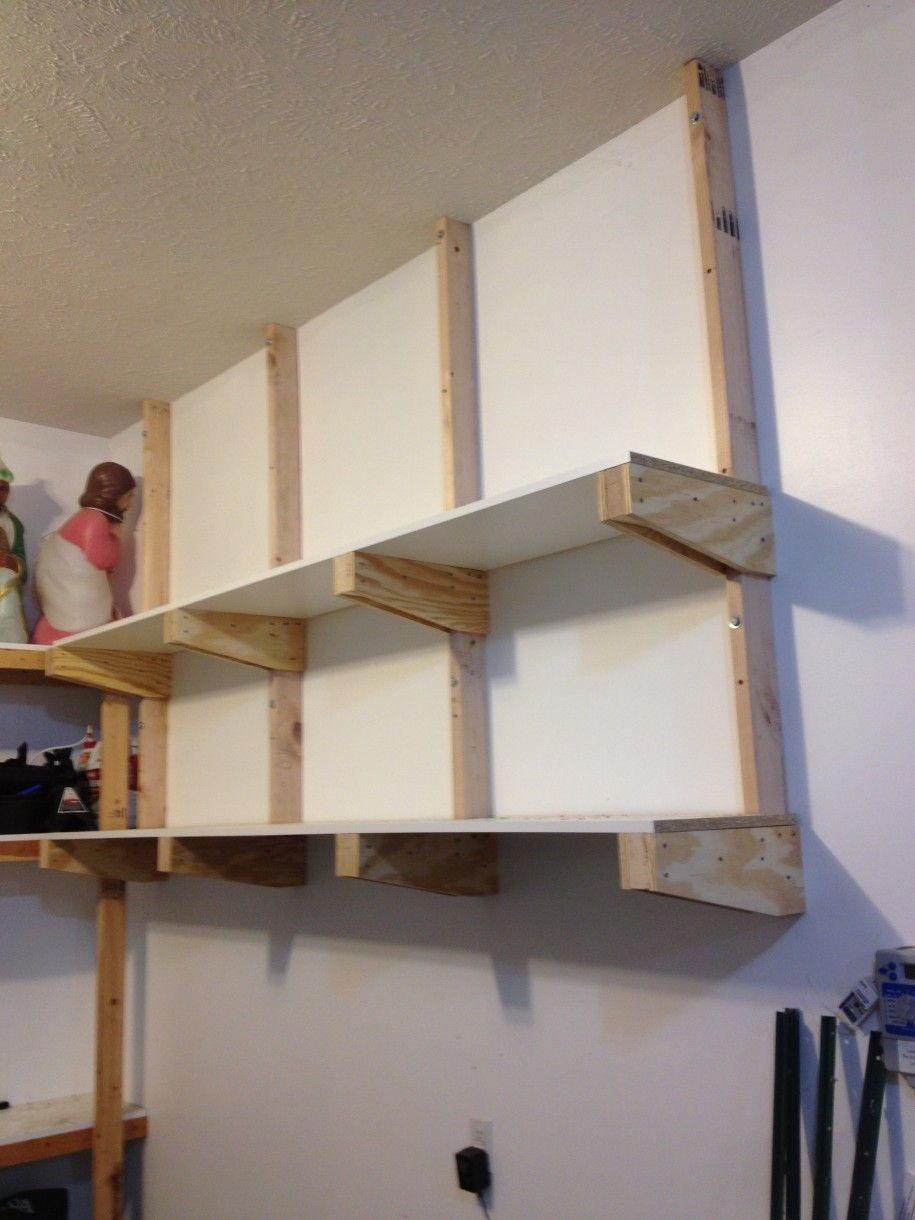 How To Build Wall Mounted Shelves In Garage Garage Storage Shelves Diy Diy Overhead Garage Storage Garage Storage Shelves