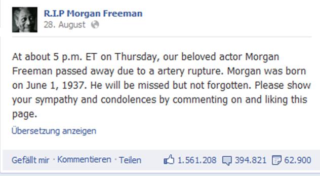 Ist Morgan Freeman tot? Eine Falschmeldung auf Facebook und ihre Bedeutung für die (Unternehmens-)Kommunikation | 29.10.2012