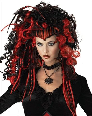 RED /& BLACK SPIDER WIG HALLOWEEN ACCESSORY COSTUME