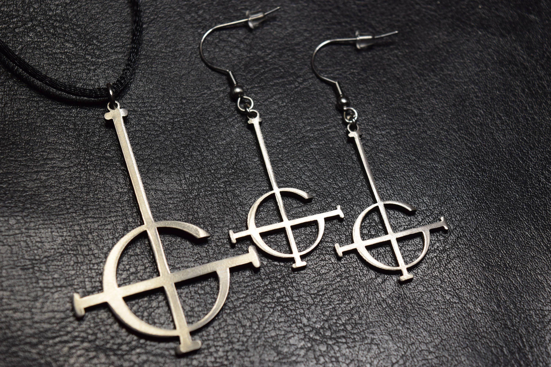 nameless ghouls symbols. sale set grucifix earrings + necklace ghost bc band papa emeritus nameless ghoul pendant logo symbol choker satan sigil by on etsy ghouls symbols d