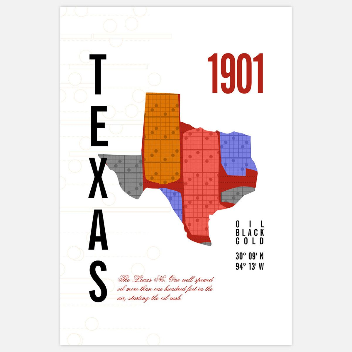 Texas Map Print 13x19 By Jhill Design