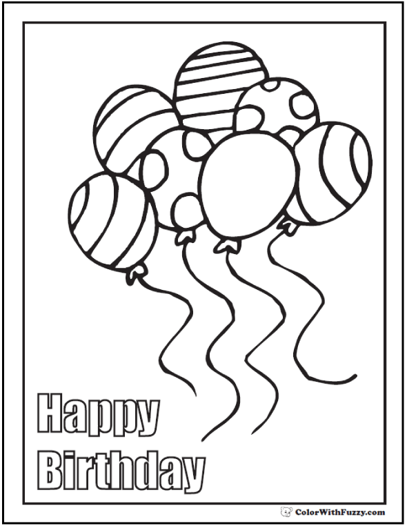 Happy Birthday Page To Print And Color Happy Birthday Coloring Pages Coloring Birthday Cards Mom Coloring Pages