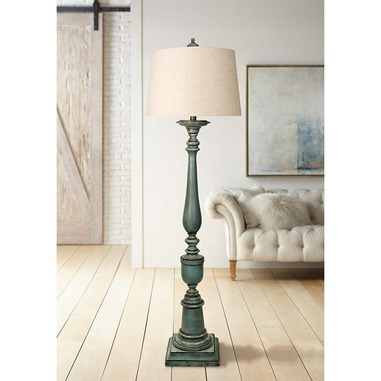 Avignon Blue Floor Lamp With White Hardback Fabric Shade 58r96 Lamps Plus With Images Blue Floor Lamps Fabric Shades