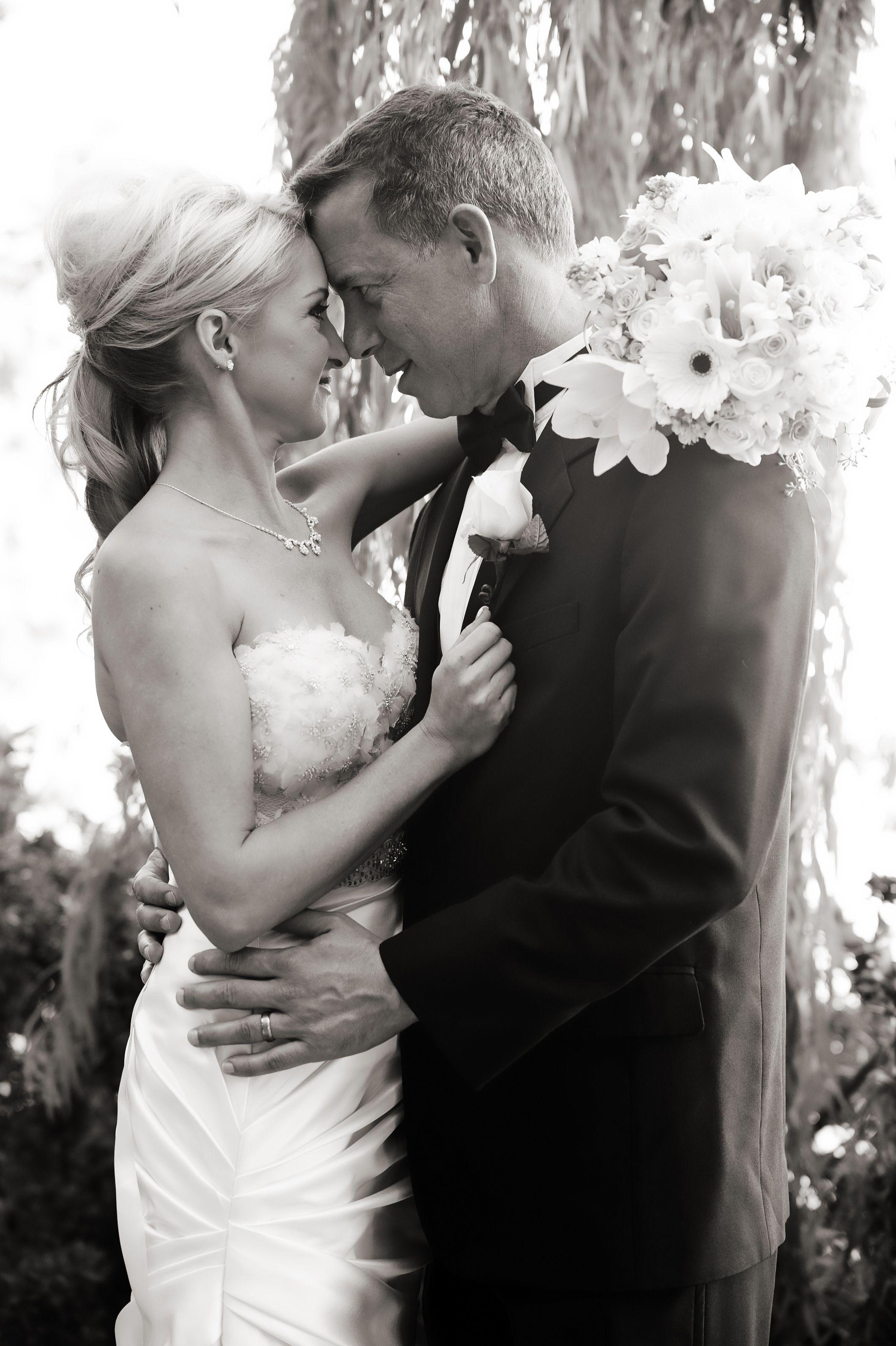 Black white wedding photo