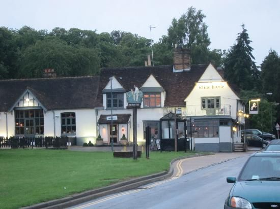 The Limes on the Green: A corner of the village green across from the Limes, showing the highly rated White Horse pub