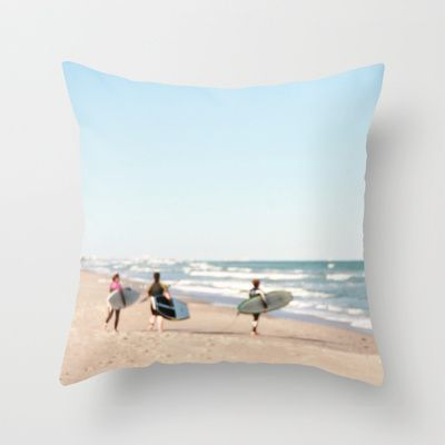 Surf's Up Throw Pillow by Ink and Paint Studio