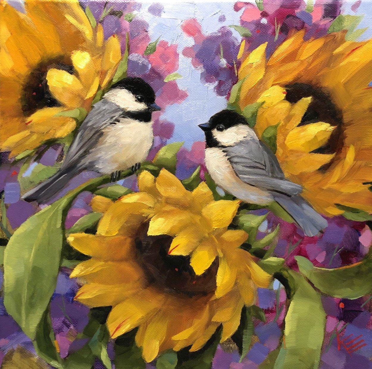 LINEN Small Blank Greeting Note Card Birds Sunflowers Birdhouse Sunshine NEW