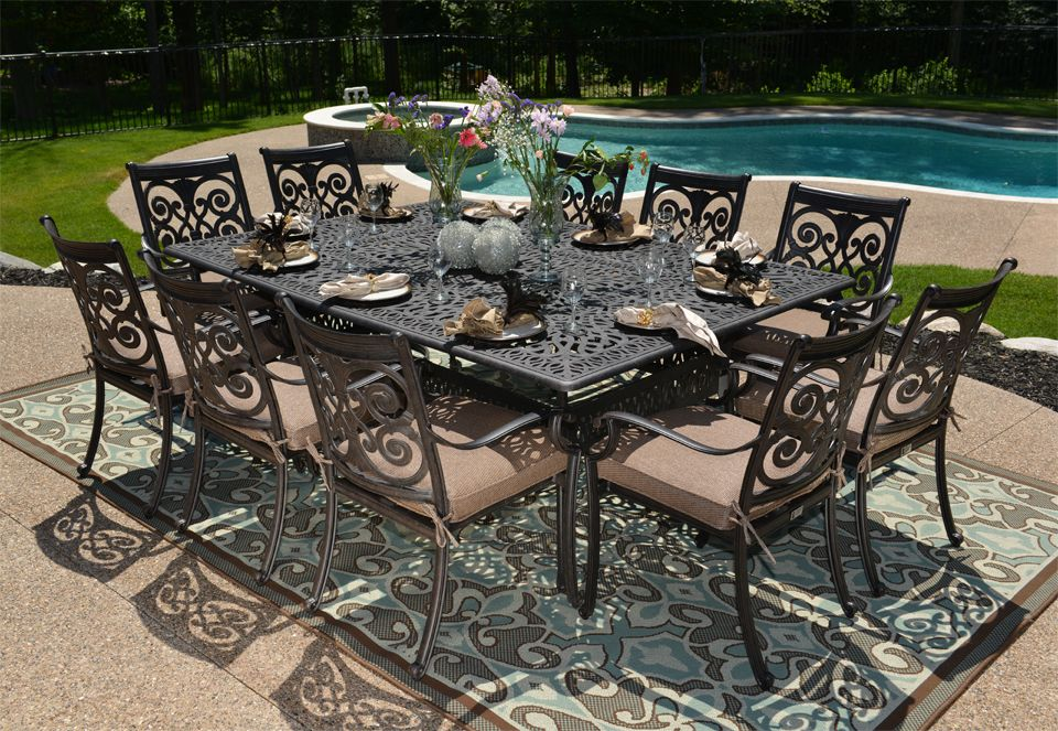 The Herve Collection 10 Person All Welded Cast Aluminum Patio Furniture  Dining Set