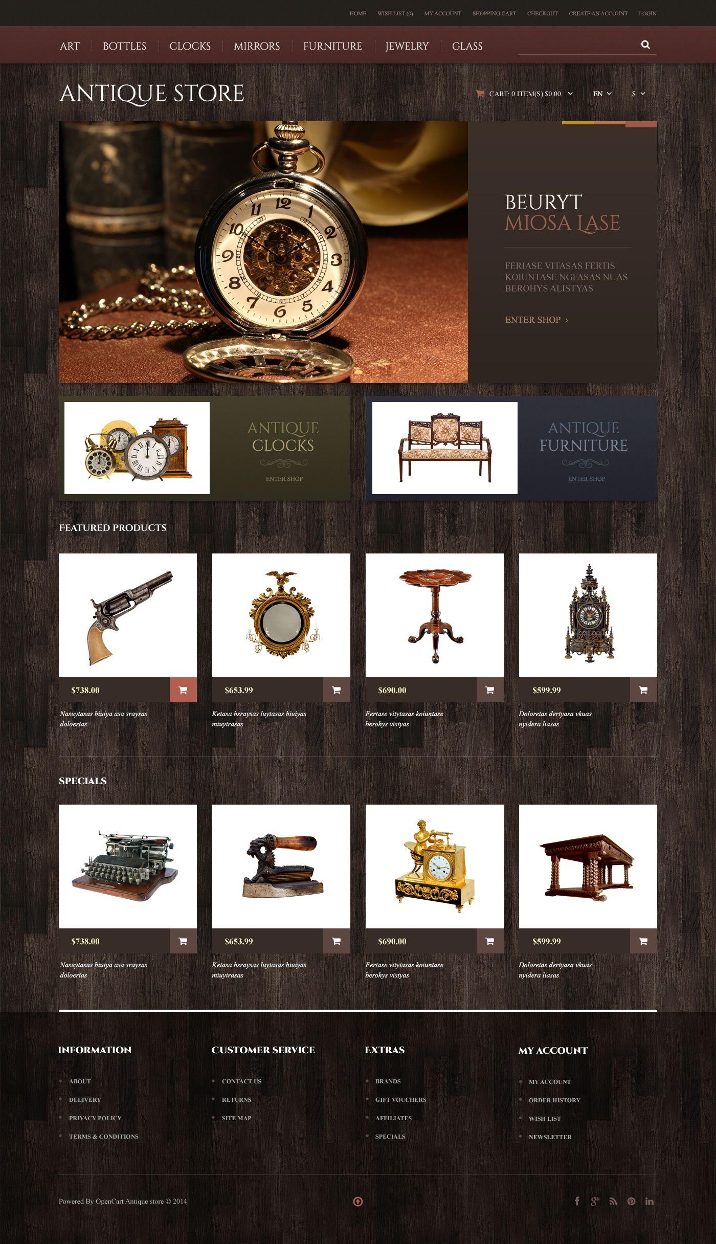 Antique Store Responsive Opencart Template Website