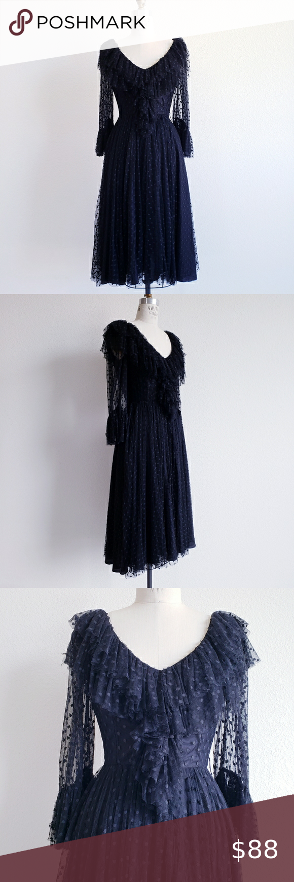 Vintage 70s Miss Ashlee Black Dotted Net Dress Net Dress Small Dress Dresses [ 1740 x 580 Pixel ]
