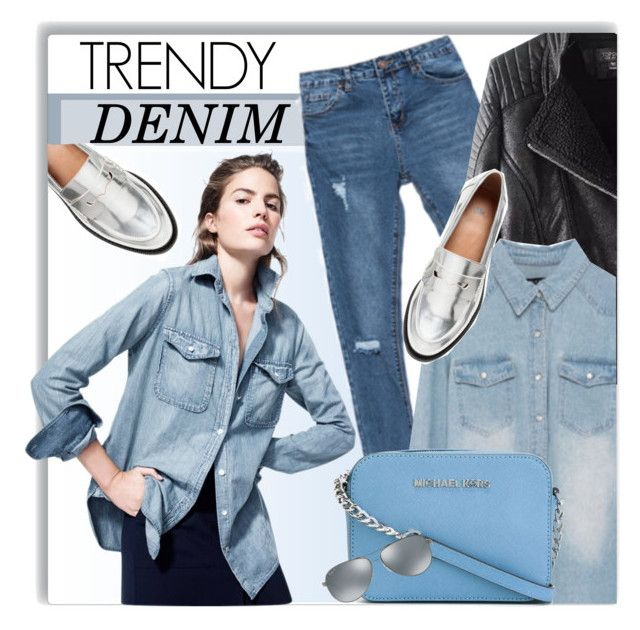 """Denim Style"" by genuine-people ❤ liked on Polyvore featuring J.Crew, H&M, MICHAEL Michael Kors, Ray-Ban, women's clothing, women, female, woman, misses and juniors"