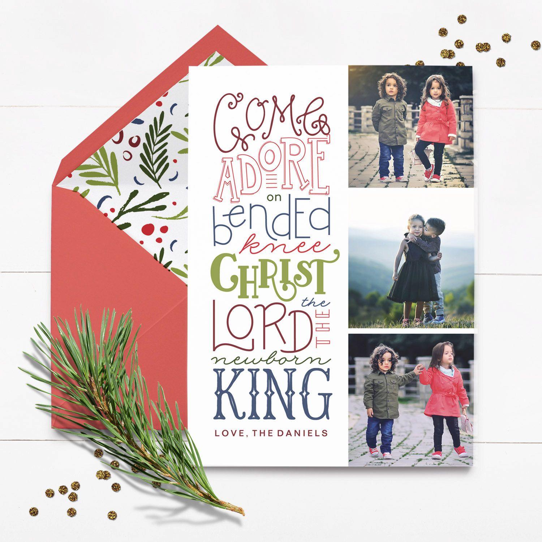 Custom Religious Christmas Card Come Let Us Adore Him Custom