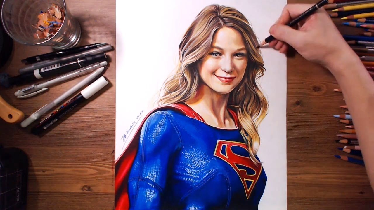 Supergirl Melissa Benoist Colored Pencil Speed Drawing