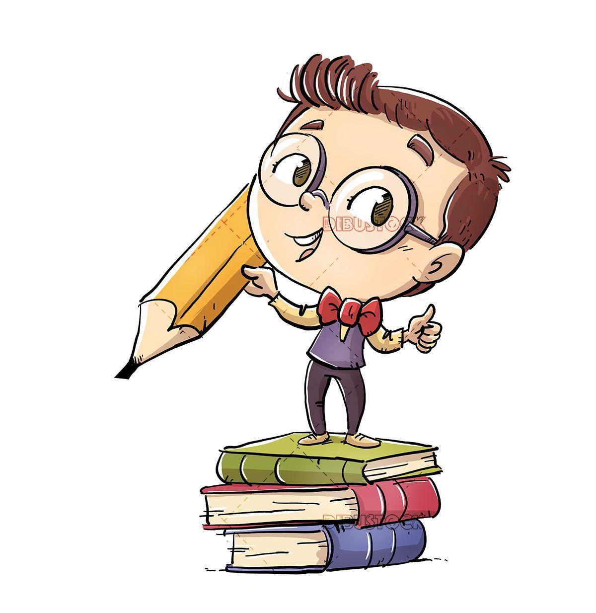 Student Kid With Pencil And Books Multfilmy Multiplikacionnye Risunki Detskij Logotip