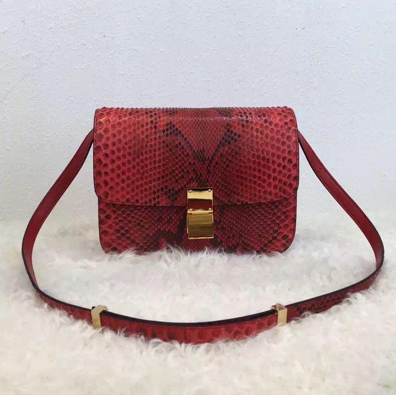Celine Python Leather Medium Box Fla Bag Red  857a34a9ce0fc