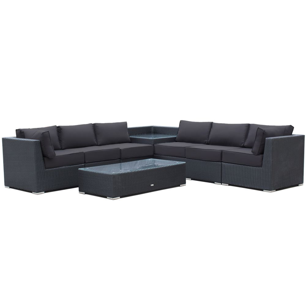 Buy Luxo Maho 8 Piece Modular Outdoor Sofa Set (Black ... on Luxo Living Outdoor id=63607