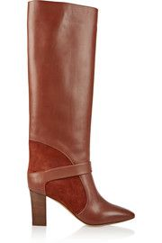 ChloéSuede-paneled leather knee boots