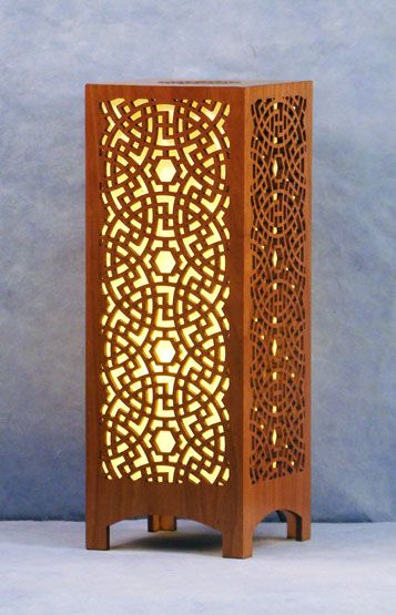 Decorative Laser Cut Wood Accent Lamp Modern Nomad