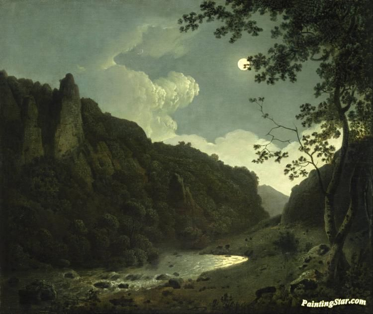Dovedale by moonlight Artwork by Joseph Wright of Derby Hand-painted and Art Prints on canvas for sale,you can custom the size and frame