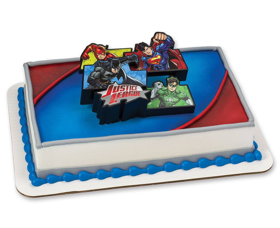 Hockey face off decoset cake topper justice league cake