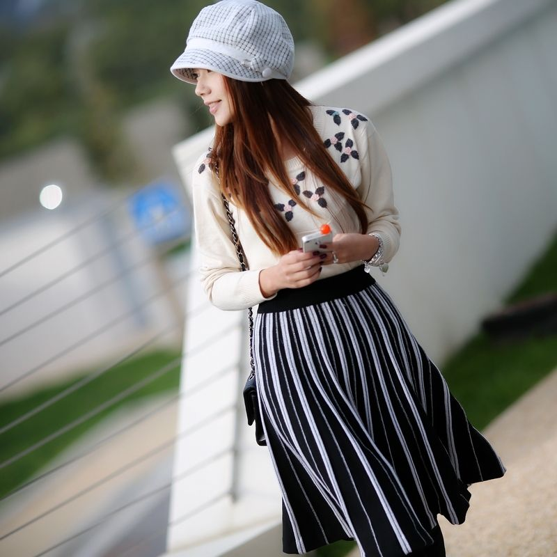 Angelcitiz black-and-white stripe slim pleated skirt bust skirt c3273 free shipping