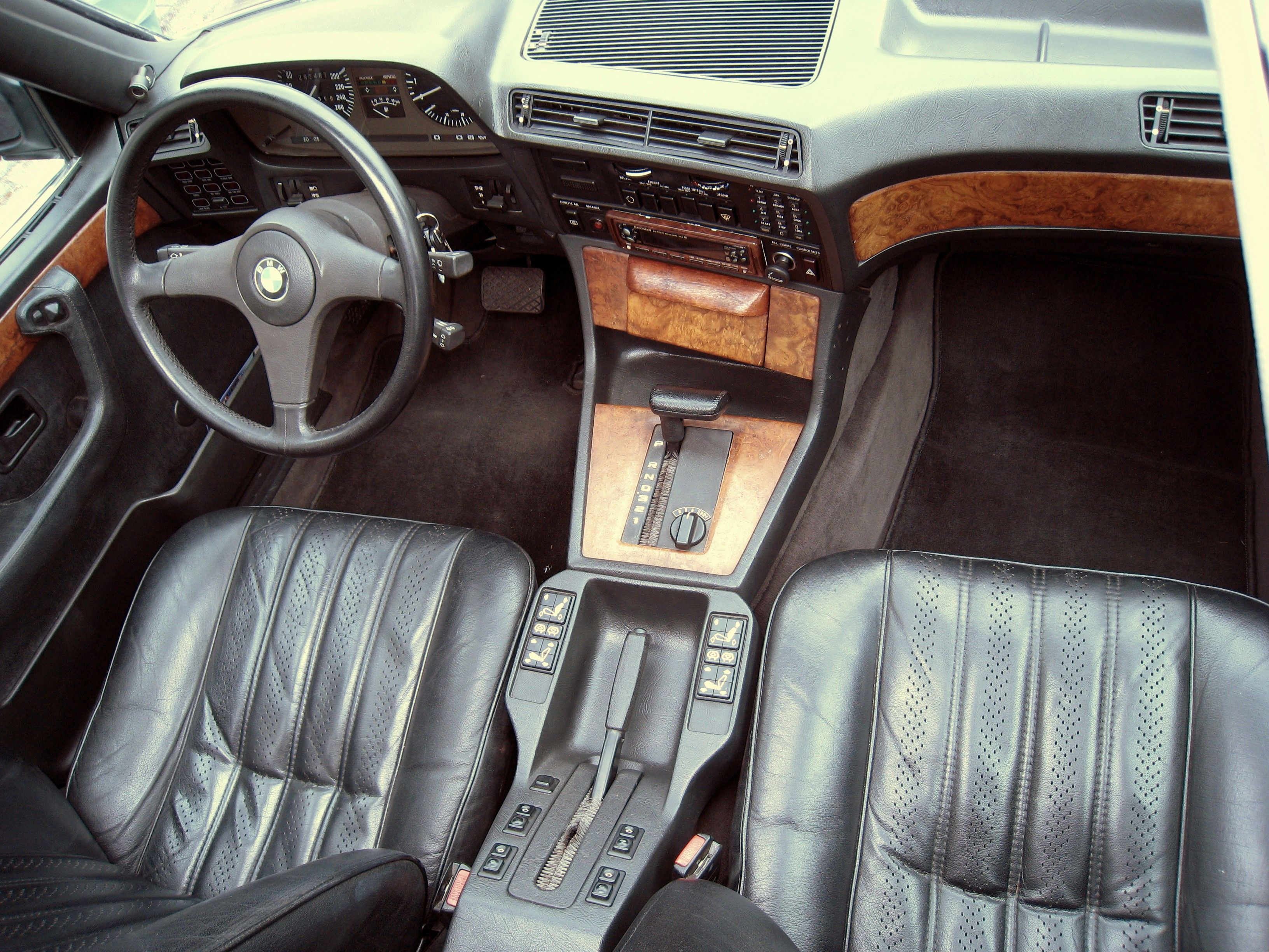 E23 BMW 745i interior with Buffalo leather in Anthracite Black   BMW ...