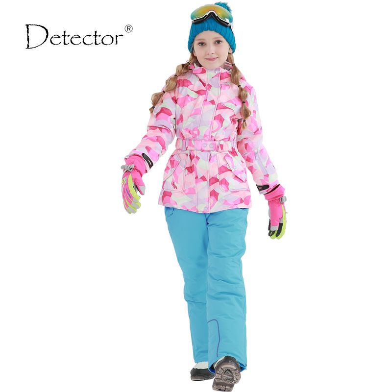 09de0bc01 Girls ski jacket Winter Outdoor Children Clothing Set Windproof Ski ...