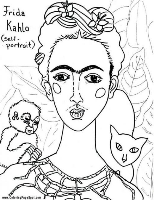 plstica frida kahlo world famous mexican painter - Artist Coloring Page