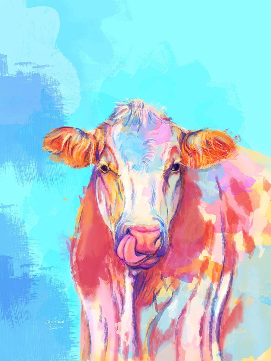 Beautiful Cow Digital Painting This Farm Animal Illustration Was