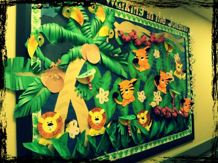 Jungle bulletin board have kids make paper plate animals for Animals decoration games