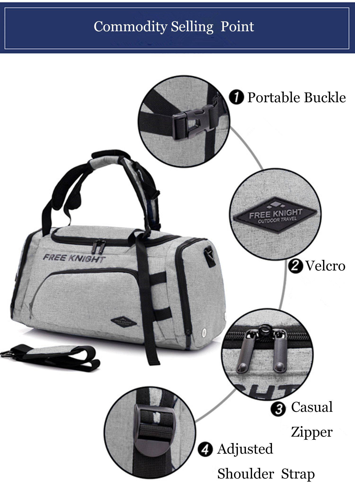 OCCIENTEC Water Resistant Carry on Travel Duffel Bag and Backpack Light  Weight Gym Sports Bag with 6b0ce24434