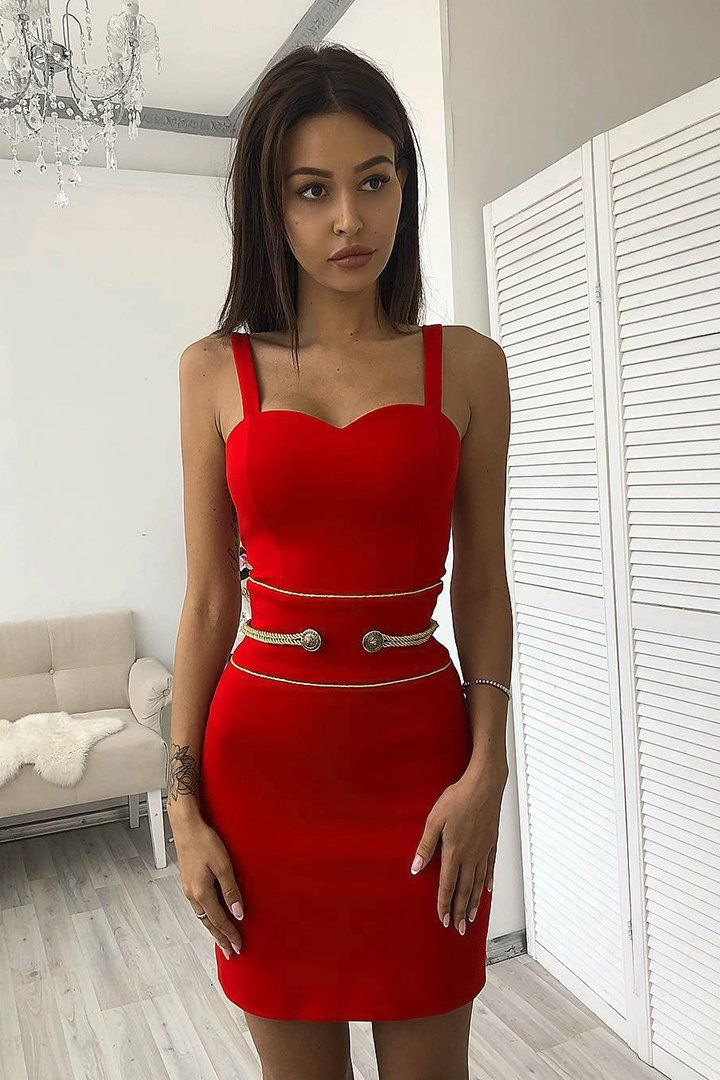 8af606954e Red Strappy Button Mini Bandage Dress – iulover Bodysuit