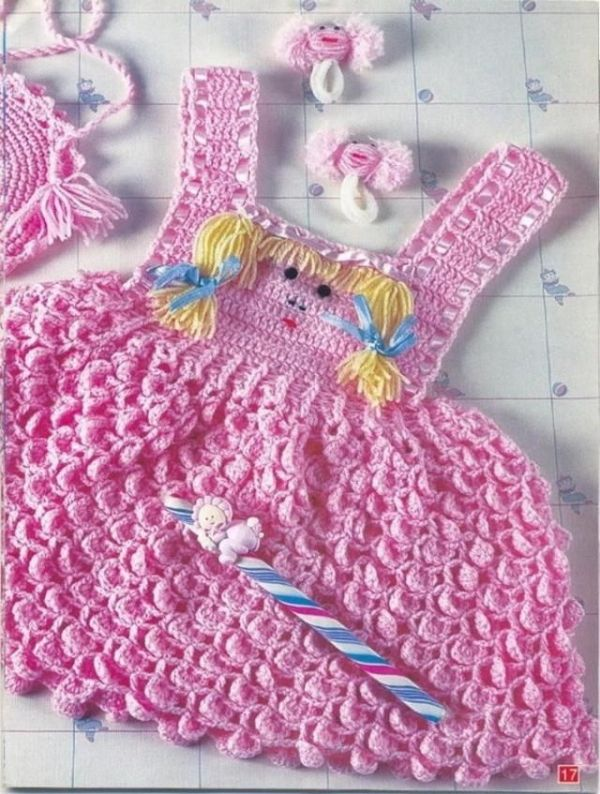 Vestido rosa patrón gráfico de ganchillo libre por Lensia | Crochet ...