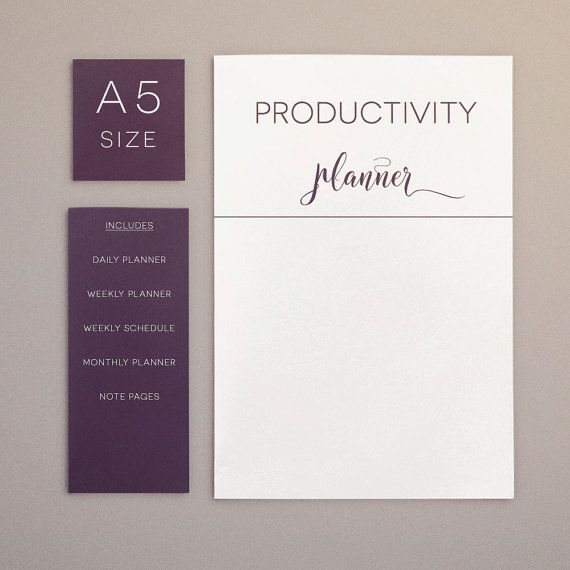 Productivity Planner, A5 Planner inserts, weekly agenda, daily - weekly agenda