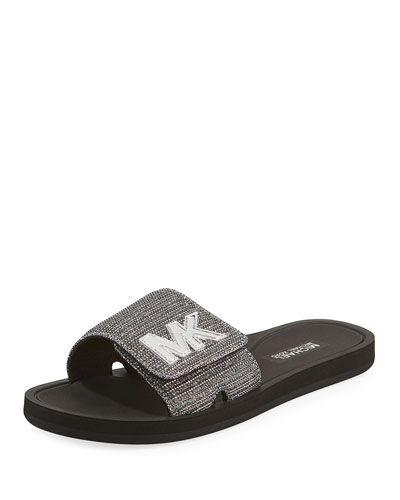 e61737c5da01 Michael Michael Kors MK Glitter Chain Slide Sandal