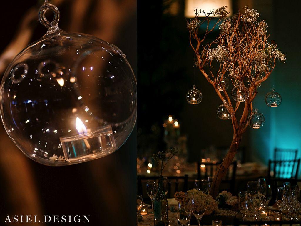 Centro de mesa con esferas colgantes de cristal y velas - Cristales para mesa ...
