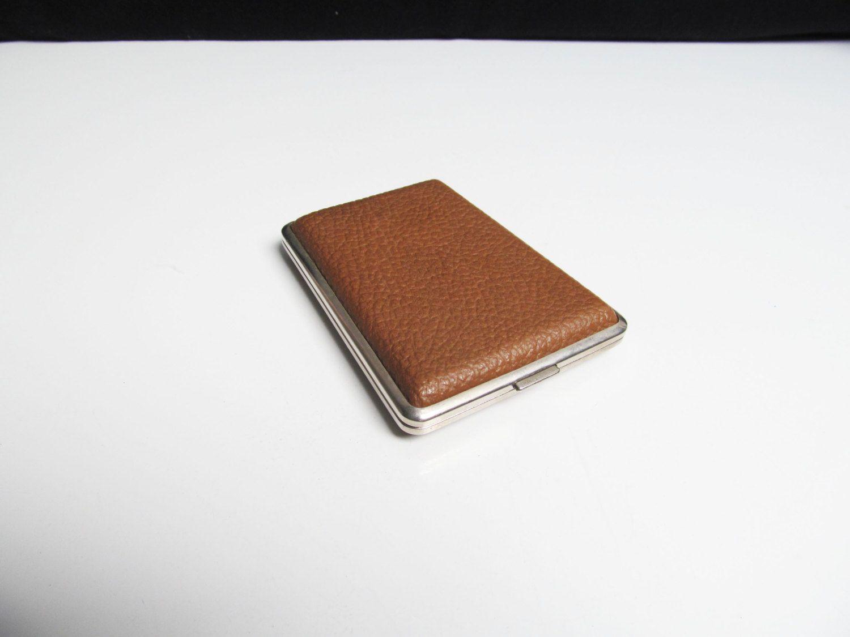 Vintage Cigarette Case holder in brown vinyl and silver metal case ...