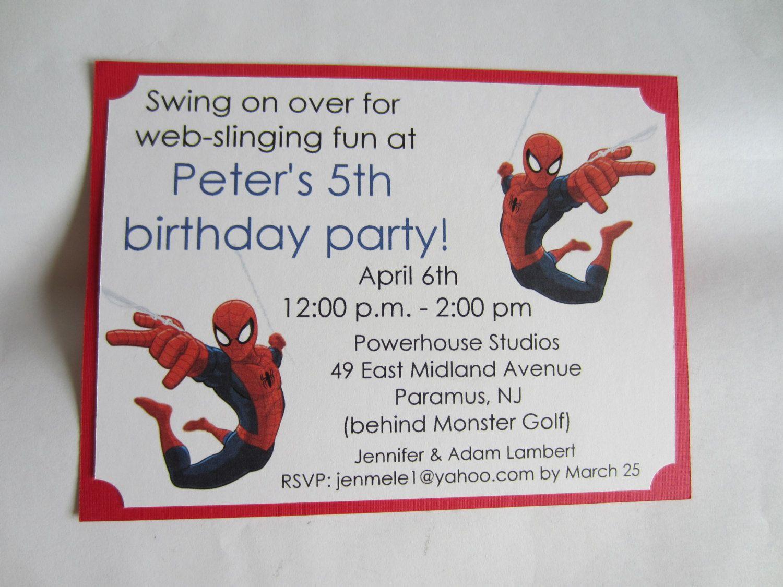 Spiderman Birthday Invitations | Birthday ideas | Pinterest ...