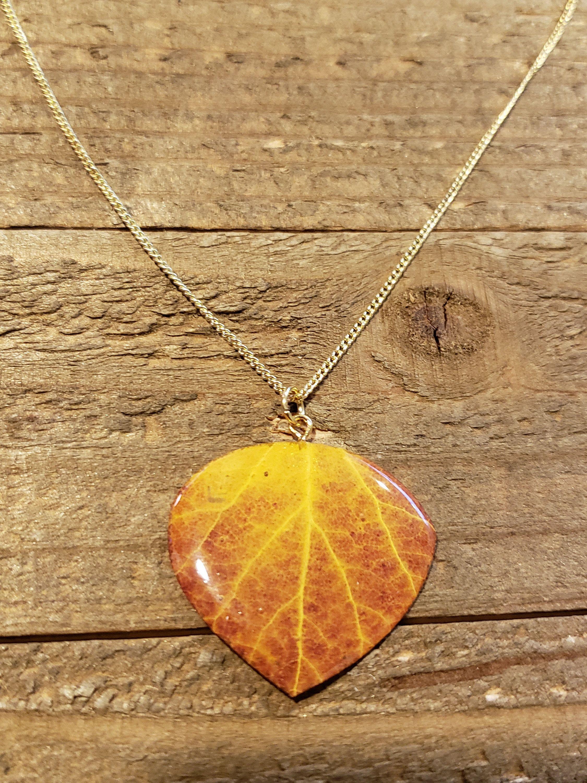Aspen Leaf In Resin Necklace Pendant