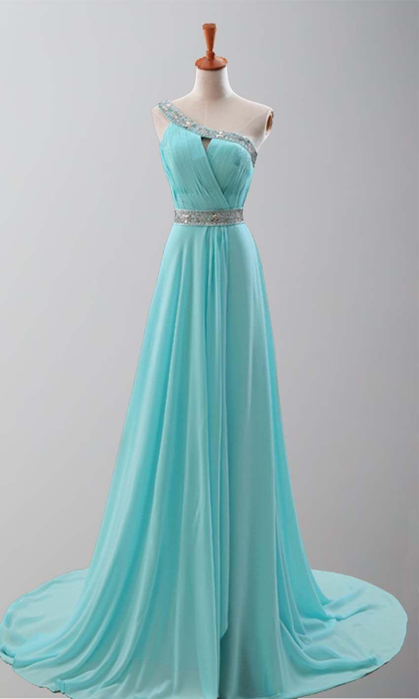Goddess Teal Train One Shoulder Prom Dresses KSP251 | Prom Dresses ...