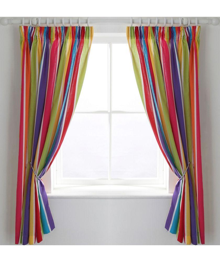 Buy Colourmatch Kids Stripe Blackout Curtains 168 X 137cm At