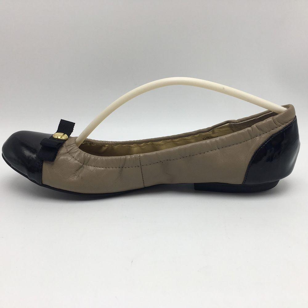 96c8b9964 Tahari Gibson Tan Taupe Black Patent Leather Ballerina Flats Womens Size 7  M