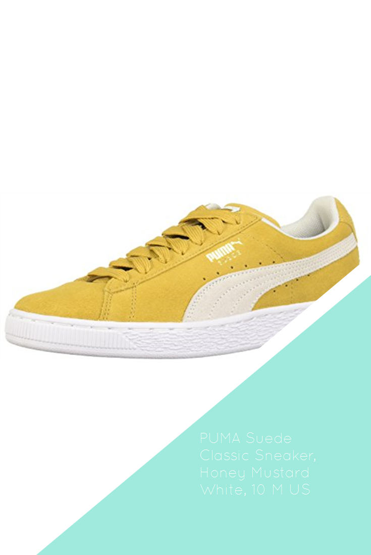 PUMA Suede Classic Sneaker, Honey Mustard White, 10 M US
