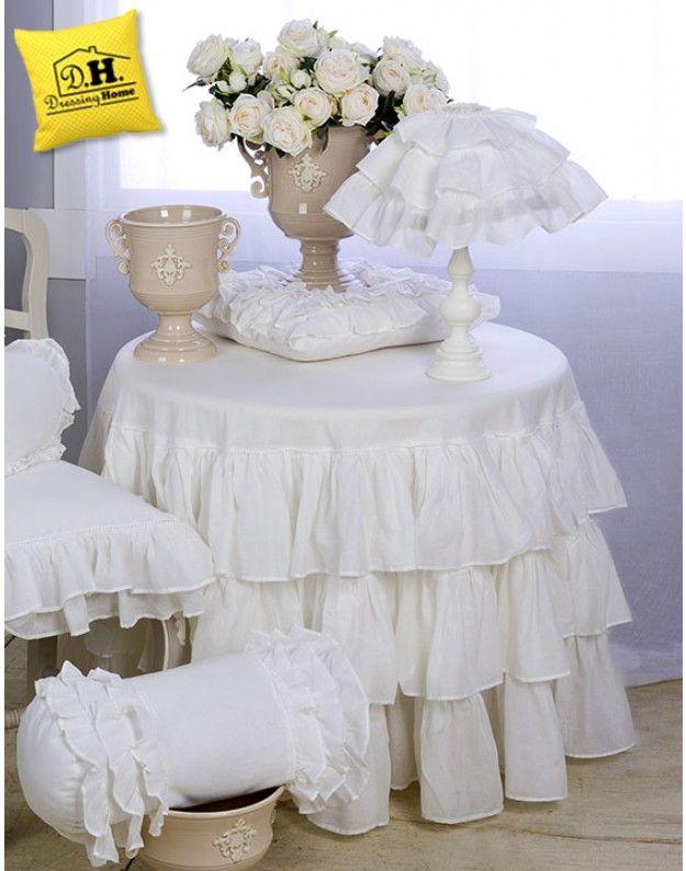 Tovaglia tonda Shabby Chic Fru Fru Collection Blanc Mariclo ...