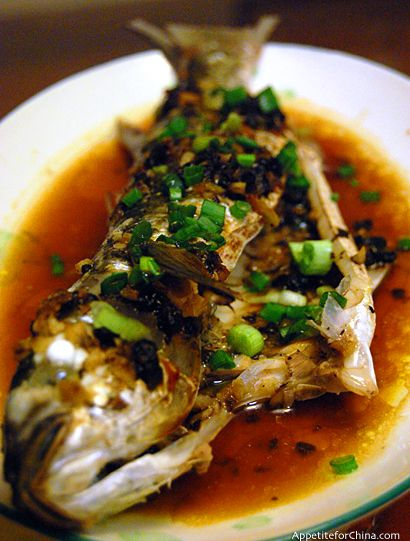 Chinese steamed fish with black bean and ginger sauce for Asian fish sauce